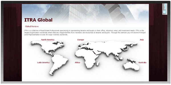 Custom Digital Creative Design for Commercial Real Estate Global Coverage Map