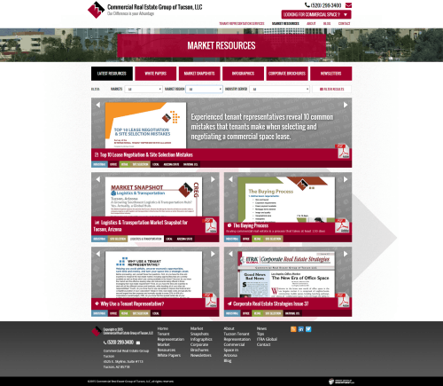 2015 Wordpress Design Portfolio Commercial Real Estate Group of Tucson LLC Market Resources