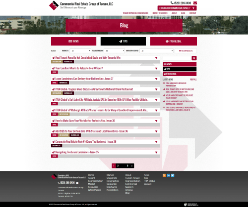 2015 Wordpress Design Portfolio Commercial Real Estate Group of Tucson LLC Services nEWS