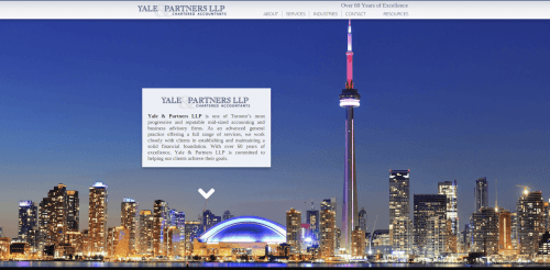 2015 Wordpress Design Portfolio Yale and Partners homepage