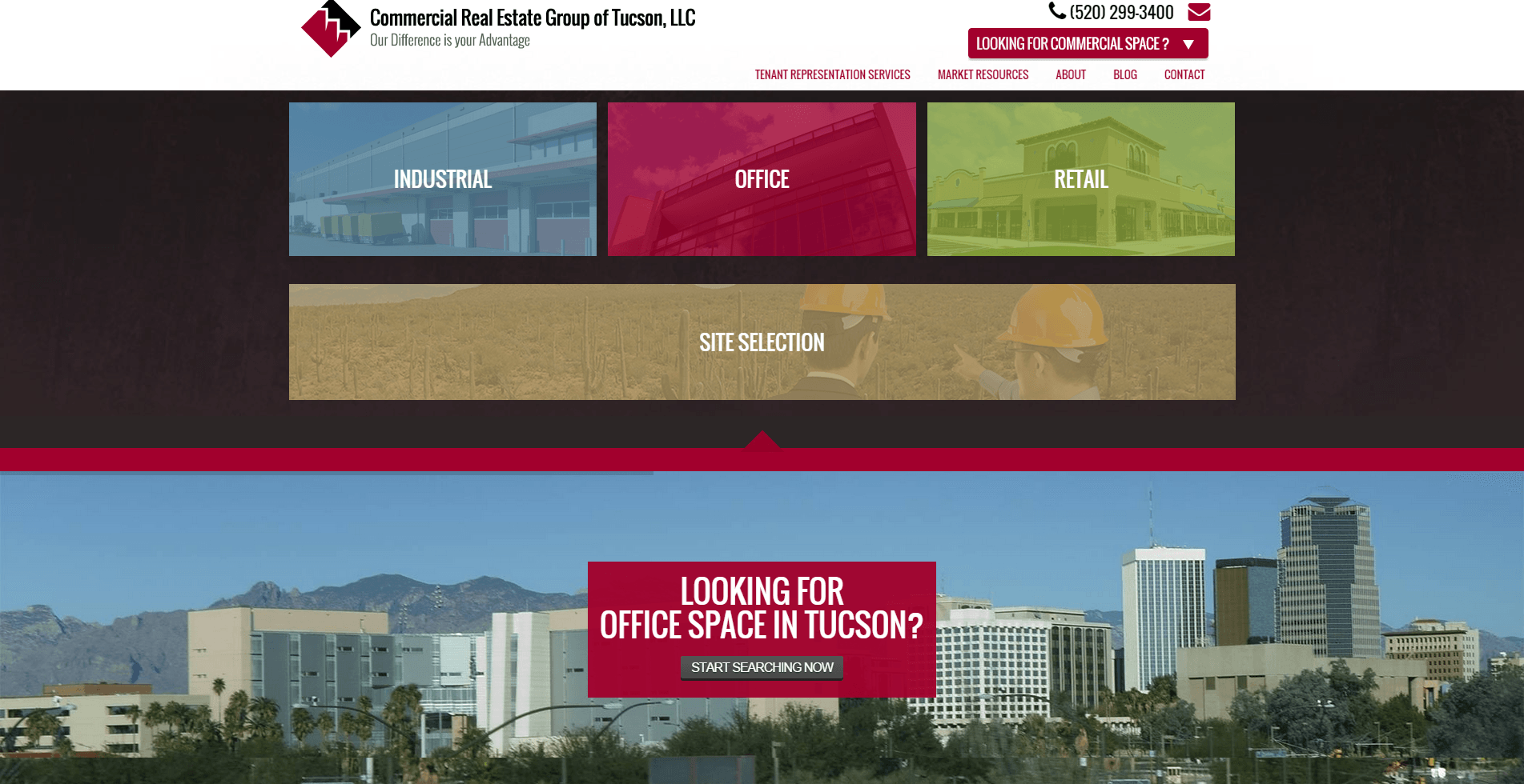 2015 Wordpress Design Portfolio Commercial Real Estate Group of Tucson  LLC Markets