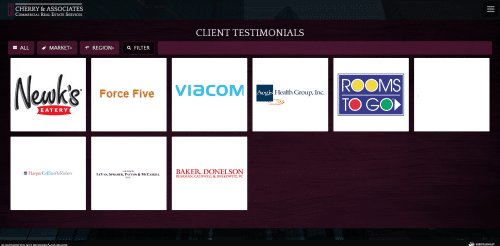 Testimonials Cherry and Associates Commercial Real Estate Web Design