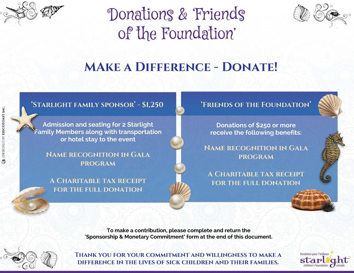 Starlight Children's Foundation Gala 2016 In Donations
