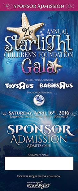 Starlight Children's Foundation Gala 2016 Sponsor Ticket