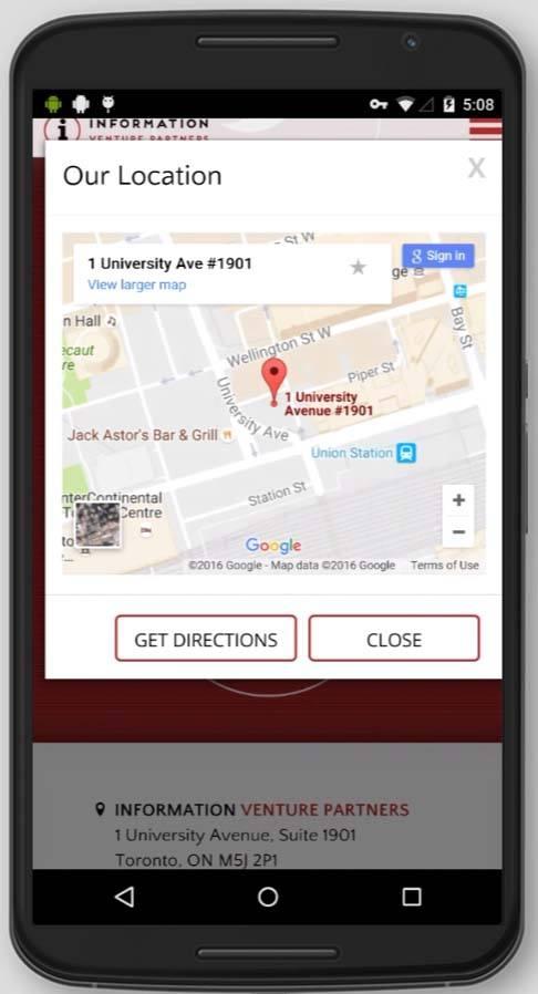2016 Wordpress Design Portfolio-Informationvp Location Page Mobile