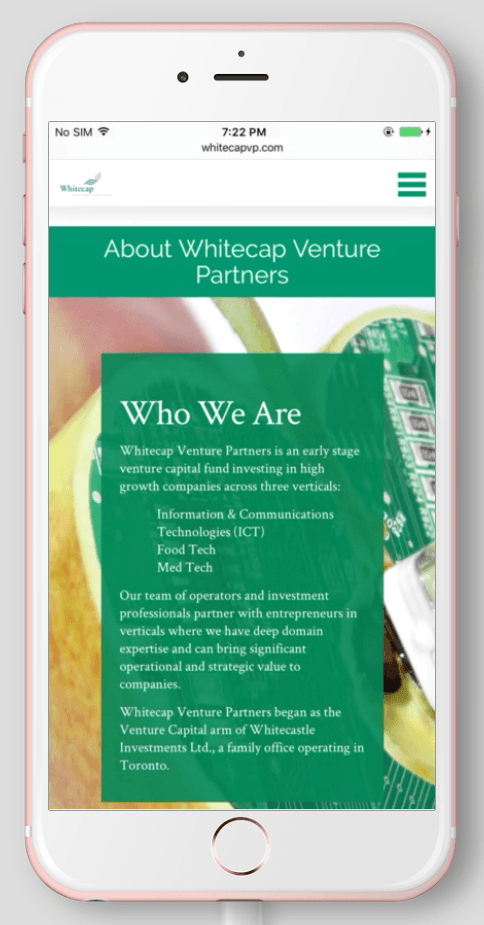 2017 Wordpress Design Portfolio- WhiteCap Venture Partners About Mobile