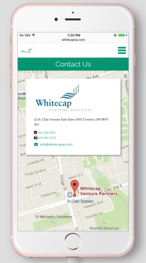 2017 Wordpress Design Portfolio- WhiteCap Venture Partners Contact Mobile