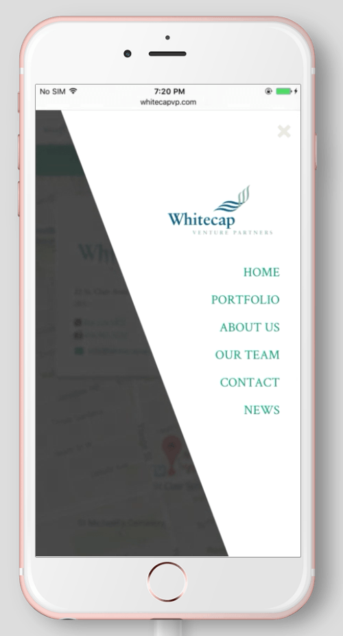 2017 Wordpress Design Portfolio- WhiteCap Venture Partners Home Menu Mobile