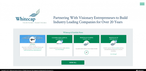 2017 Wordpress Design Portfolio- WhiteCap Venture Partners Home Page