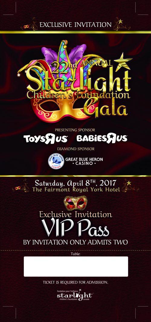 Starlight Children's Foundation Gala 2017 VIP Ticket Front