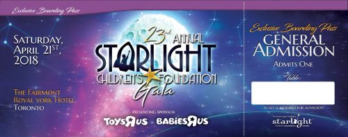 Starlight Childrens Foundation Annual Gala General Ticket Front